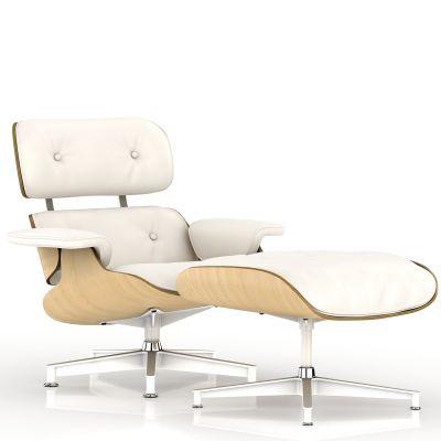 Eames 躺椅和脚凳(MCL优质真皮黑/白色)